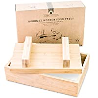 ‏‪Gourmet Wooden Food Press for Making Tofu Cheese Oshizushi and Musubi - Plastic Free Presser to Remove Water and Mold Large Homemade Rectangular Blocks of Paneer Halloumi Feta and Vegan Nut Queso‬‏