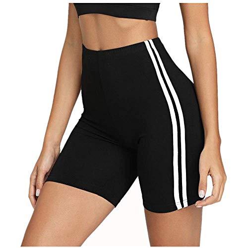 Weant Shorts Damen Sommer Kurze Hose Mode Frauen Einfarbig Gestreift Yogahosen Sexy Strand Sport Hot Pants Bermuda Shorts Sommer Strandshorts mit Taillenband -