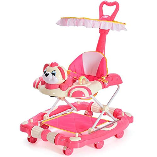 Girello Activity walker Developmental Walker Walker neonato bambino 6-7-12-18 mesi multi-funzione walker anti-rollover pieghevole (cavallo a dondolo variabile) ( Color : Pink , Size : 73*62cm )