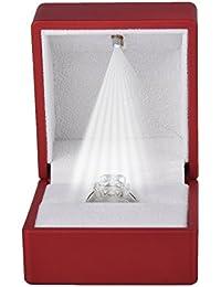 HooAMI Ring Schachtel mit LED-Licht Ringe Samt Schmuck Etui, 6cmx6.4cm