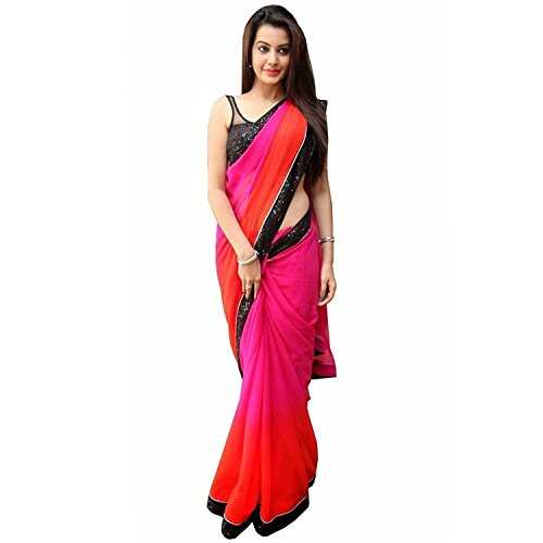 Party Wear Saree ( By Design Women\'s Multi color Chiffon Saree With Net Work Blouse)