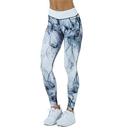 Yuan Frauen Sport Gym Yoga Workout Mid Taille Laufen Hosen Fitness Elastische Leggings (M, Schwarz) (Elastische Jeans Taille Spandex)