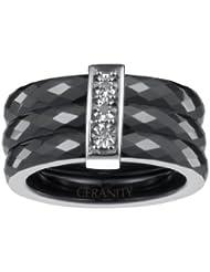 Ceranity - 1-18/0005-N - Bague Anneaux Femme - Barrette - Argent 925/1000 2.5 gr - Diamant - Céramique - Blanc