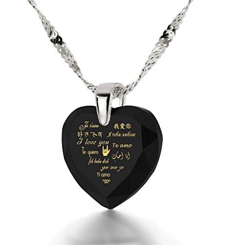 Pendentif Coeur - Bijoux en Argent Fin avec Je t'aime en 12 langues inscrit en Or 24ct sur un Zircon Cubique en Forme de Coeur, 45cm - Bijoux Nano Noir