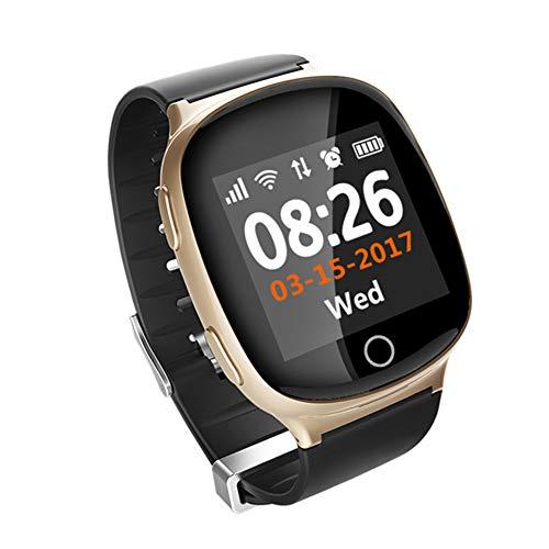 BAIJ GPS-Tracker-Uhr, ältere Smartwatch GPS + LBS + WiFi-Positionierung Anti-Lost-Herzfrequenz-Monitor Sport-Tracker-Alarm-SOS-Armbanduhr für iOS Android,Gold Wifi-gprs-gps