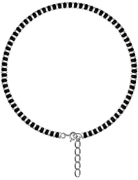 KUKSHYA 925 Exclusive Nazariya Payal (Anklet) with Black & Silver Beads (Crystal) in 92.5 Sterling Silver for Girls and Women - One Piece
