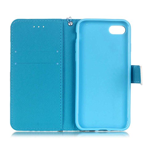 iPhone 7 Custodia, iPhone 7 Custodia Portafoglio, iPhone 7 4.7 Custodia Pelle, JAWSEU Lusso 3D Modello Design Creativo PU Leather Wallet Flip Cover Custodia per iPhone 7 Copertura con Morbida Gel Sili Piuma Colorata
