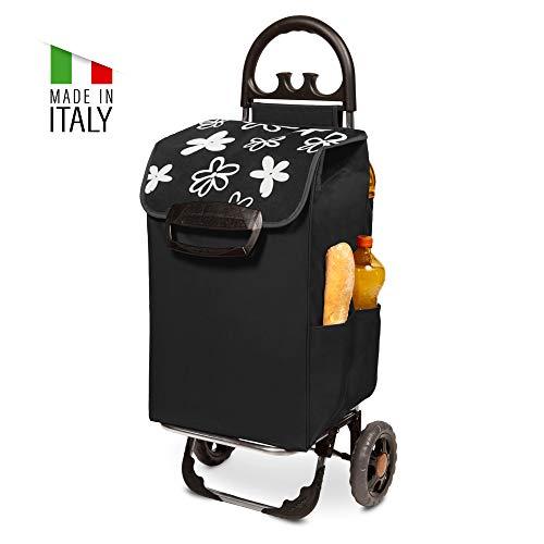 Himy Einkaufstrolley XL schwarz mit Blumenmuster & 78 Liter Volumen - Trolli bis 50kg belastbar mit Reflektoren an den Rädern