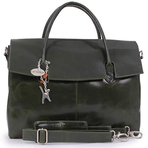 Catwalk Collection Handbags - Leder - Übergroße Laptoptasche Schultasche/Organizer/Arbeitstasche/Aktentasche für Damen - Laptop/iPad - Handtasche mit Schultergurt - HELENA - Grün