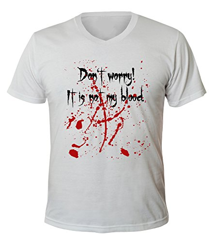 Mister Merchandise Uomo V-Neck T-Shirt DonŽt Worry, itŽs not my Blood , Men Maglietta Camicia, Taglia: XL, Color: Blanco