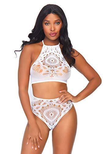 Leg Avenue Crochet-Spitze Neckholder Crop Top & passenden hohen Taille String, Größe S/M (Weiß), 0.07 kg Crochet Detail Kleid
