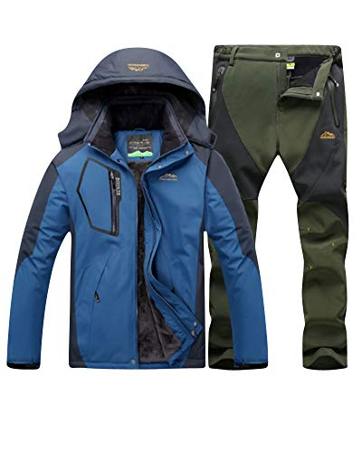 LiangZhu Herren Skijacke Segeljacke Snowboarjacke Warme Outdoorjacke Wasserdicht Atmungsaktiv Top + Hose Zweiteilig Denim Blue Army Green XL -