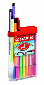 Stabilo Pen 68 Etui distributeur de 18 feutres Couleurs assorties
