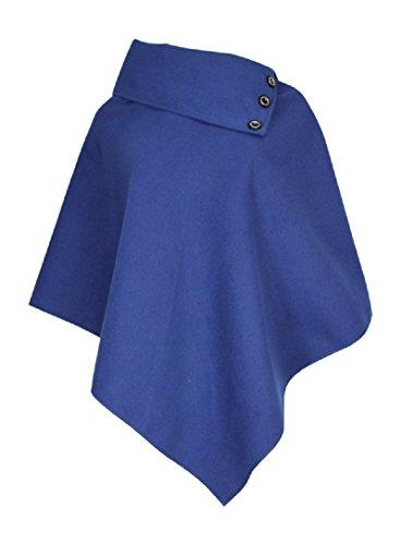 Mesdames Femme de Dames Womens Ladies Laine Poncho Top avec détail de bouton Cape asymétrique (Taille unique) Bleu