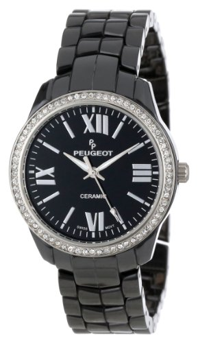Peugeot Women's PS4901BK Swiss Ceramic Swarovski Crystal Black Dial Watch