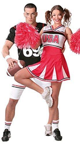 Paare Damen & Herren Cheerleader American Football Quarterback Sport Fancy Dress Kostüm Outfits - Mehrfarbig, Herren (Paare Kostüme Aus)