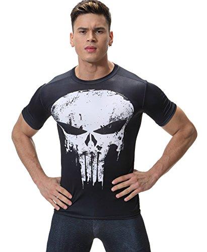 Cody Lundin Männer Mode schwarzes Shirt Skull Logo Shirt männlichen funktionelle Partei outdoor-Fitness Kurzarm (L) (Under Long Unterwäsche Armour Sleeve-lange)