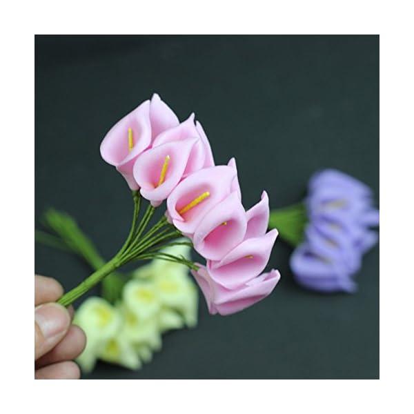 SMARTrich – Mini ramo de lirio de cala artificial para novia, boda, decoración del hogar, caja de regalo, 144 unidades…