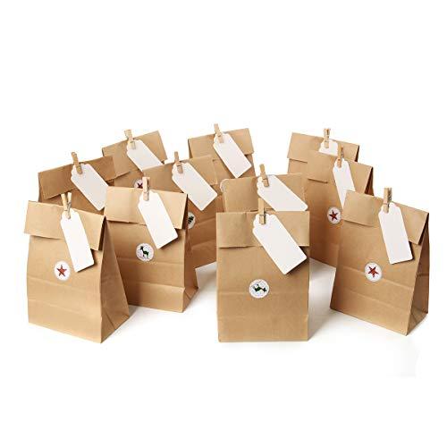 Cusfull 100 x Kraftpapier Geschenktüten Geschenkbeutel mit Etiketten + 24 x Holzklammer + 24 x Aufkleber, Papiertüten Partytüten für Halloween, Weihnachten, Geburtstag, Hochzeit, Kinder Party
