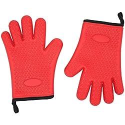 Guantes horno de silicona de Opul, manoplas de silicona de calidad alimentaria impermeables y antideslizantes, aprobados por la FDA, manoplas para ollas, guantes de cocina resistentes al calor