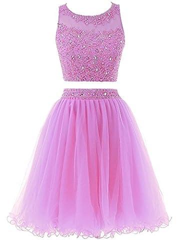 Solovedress Frauen Zwei 2 Stück Kurz Tüll Perlen Abendkleid Heimkehr Kleid Ballkleid(Lilac, Kundenspezifische Größe)