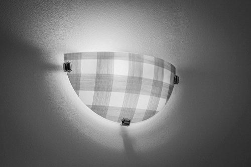 Landhaus Wandleuchte (Landhaus, Weiß, gemustert, Halbschale) Landhauslampe Innenleuchte Flurleuchte Dekoleuchte Wandlampe