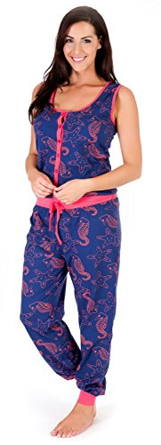 Damen Schlafanzug-Einteiler/Jumpsuit ohne Ärmel Seepferdchen - Dunkelblau
