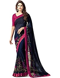 Zaparia Women's Multicolors Georgette Printed Less Border Saree With Blouse Piese