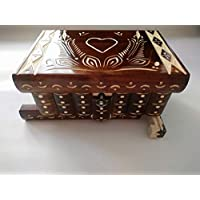 Nueva corazón marrón especial hermosa caja mágica, misteriosa caja, caja puzzle , caja secreta, hecha a mano, casilla complicado, caja de madera tallada, regalo perfecto, juguete de madera
