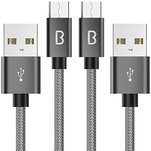 Beikell [Lot de 2] Câble Micro USB, Câble USB Nylon Tressé 2M Câble Cordon Micro USB Rapide - Garantie A Vie - pour Samsung, Appareils Android, Sony, HTC, Nexus et Plus - Gris Sidéral