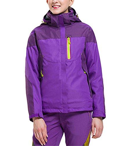 Paare Kleidung 3 in 1 Herren Damen Outdoor Funktionsjacke Skifahren Bergsteigen warm Freizeitsjacke Violett Damen XXL
