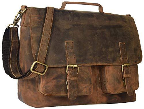 KK 's 40,6 cm Retro Buffalo Hunter Leder Laptop Messenger Bag Büro Aktentasche College Tasche Leder Tasche für Damen und Herren -
