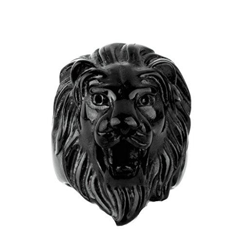 Beydodo Anillo de Hombre Acero Inoxidable Anillo Cabeza de León Anillo Para Hombre Anillo Talla Anillo Negro