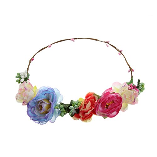 EOZY Guirlanda Del Pelo Flores Grandes Guirnalda Para Mujer Niñas Fiesta Playa (Azul)