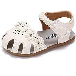Zapatos de Verano para Bebé Yesmile Sandalias de PU para Niñas Pequeñas Romanas Zapatillas Huecas con Bucle de Gancho Chancletas Flores de Verano (16, blanco)
