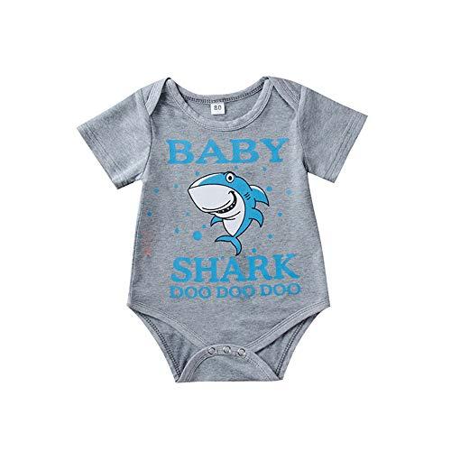 Anywow Baby Haifisch DOO Strampler Säugling Jungen Mädchen Sommer Body Kurzarm Bodys Einteiler Jumpsuit Onesie für 0-24M (Mix-outfits Little)