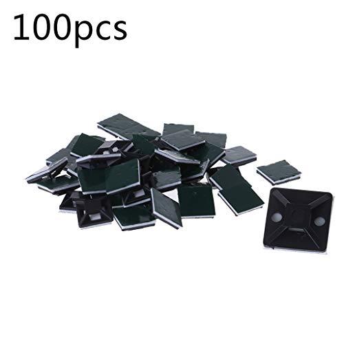 Kabelbinderücken mit selbstklebender Rückseite, Schwarz, 100 Stück Einheitsgröße 3 -