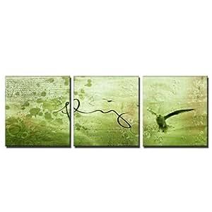 ps-art Kunstdrucke Toile murale géante en triptyque abstrait et moderne Encadré avec châssis Motif onirique oiseau en vol 50 x 50 160 x 50 cm Reproduction sur toile Cadre inclus, toile murale d'excellente qualité au design tendance et moderne. Fabrication allemande