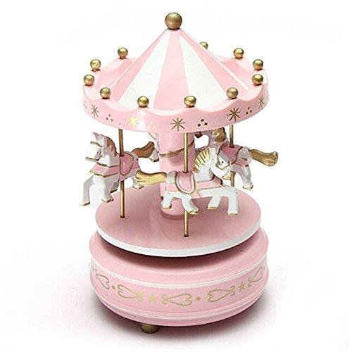 Dooret Caja de música Carrusel de Madera para niños Juguetes para cumpleaños Regalo de Boda Caballo de Cuerda Parque de Atracciones Caja Musical