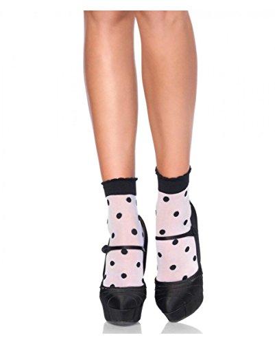 Horror-Shop Weiße Nylonsöckchen mit schwarzen Polka Dots für Rockabilly Kleider
