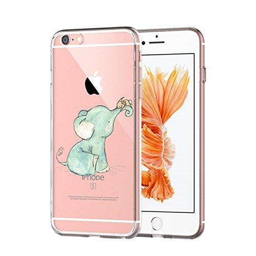 Qissy® TPU Cover iPhone 6 / 6S 4.7 pollici Custodia Bumper Morbida Crystal Clear TPU Silicone blue Elephant 16
