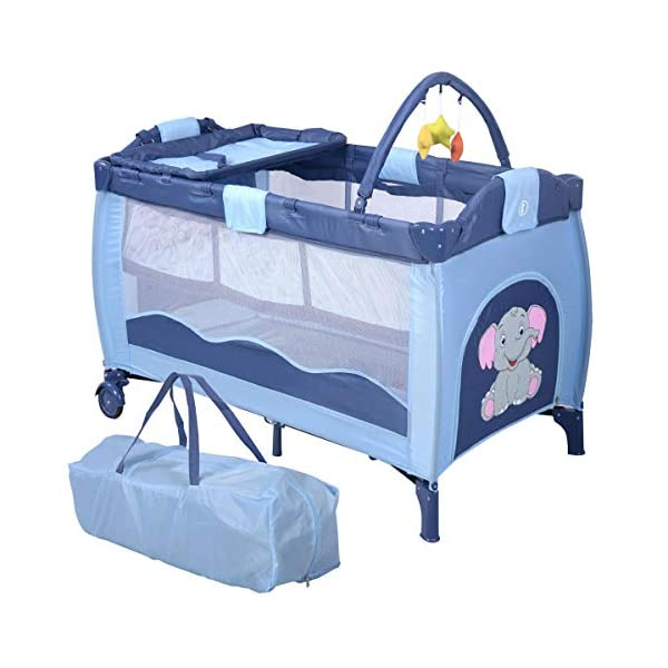 COSTWAY Portable Infant Baby Travel Cot, Bed Play Pen, Child Bassinet Playpen Entryway, with Mat 2 in 1 (Blue) Costway 【Excluded locations】Guernsey, JERSEY, Channel Islands, Isle of Man, Scilly Isles, Scottish Islands, PO BOX 【Folded Design】Due to its folding design, you can take it to anywhere as you like by packing it in the supplied carry bag, and it just takes you a while to fold or unfold it before using. 【See-through safety mesh】It features mesh cloth on both sides, this netted areas allow your baby to see out clearly as well as an onlooker to see in to her/him, and it also offers great ventilation for your baby. 1