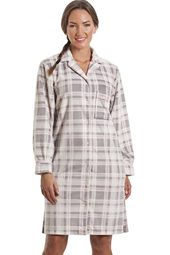 Camicia da notte a quadri in pile con bottoni - grigio 40/42