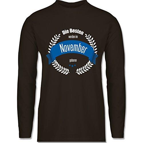Geburtstag - Die Besten werden im November geboren - Longsleeve / langärmeliges T-Shirt für Herren Braun