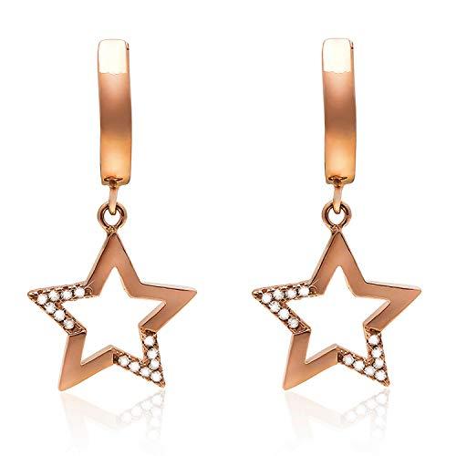 Stern Damen Ohrringe Silber 925 Roségold 5A Zirkonia Haken Tropfen Baumeln Ohrringe Frauen Schmuck Weihnachten Geschenke für Sie (Roségold Ohrringe)