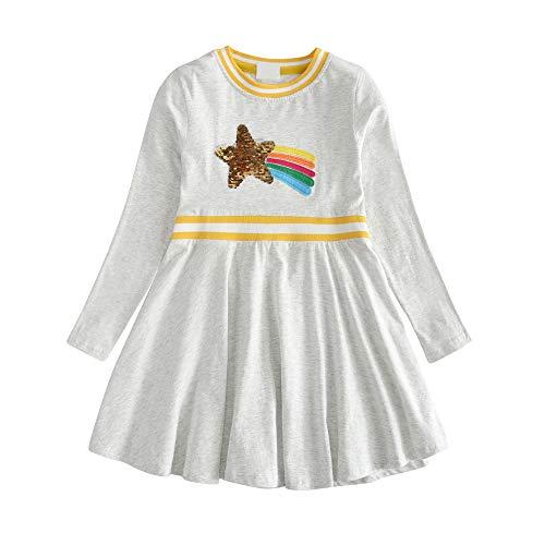 VIKITA Mädchen Blumen Langarm Baumwolle Kleid 2-8 Jahre SMKLP001GREY 6T