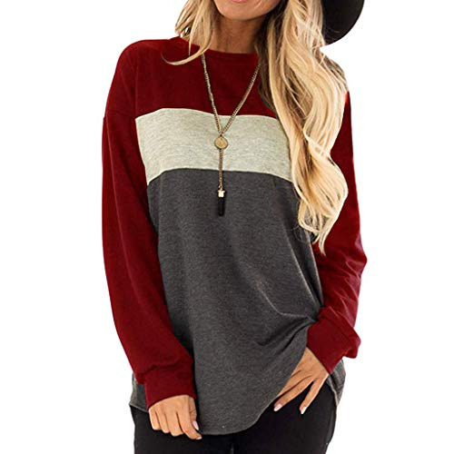 Yvelands Damen T-Shirt Lange Ärmel der Frauen Rundhalsausschnitt Tunika Tees Lässige lose Farbe Block Tops Bluse(rot,CN-2XL)