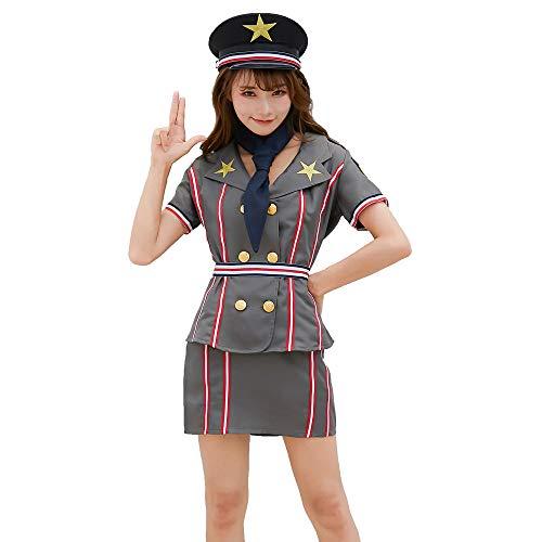 HJG Sexy Cop Kostüm Polizei Frauen Kleid Rollenspiel Cosplay Uniform, Japanische Marine Outfit Kostüm für Halloween Party,XL (Marine Kleid Uniform Kostüm)