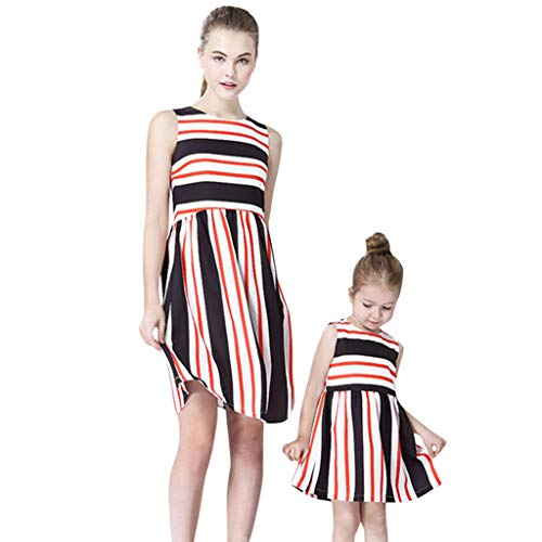 hild O-Ansatz Sleeveless Drucken Stripe Splicing Familie Kleidung Kleid(Rosa(Baby),90) ()