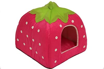 Strawberry Pet Igloo bed / House 3 sizes and 3 colours to choose from (Large, Pink)